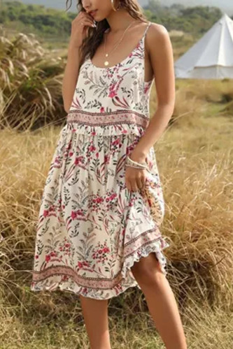 Spring Ladies Cotton Long Sexy Dress Women Sleeveless Summer Dress Floral Print Boho Dress