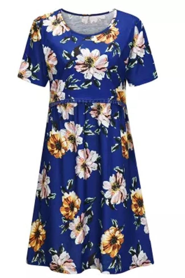 Maternity Dresses Women Pregnant Dress Short Sleeve Floral Print Nursing Dress