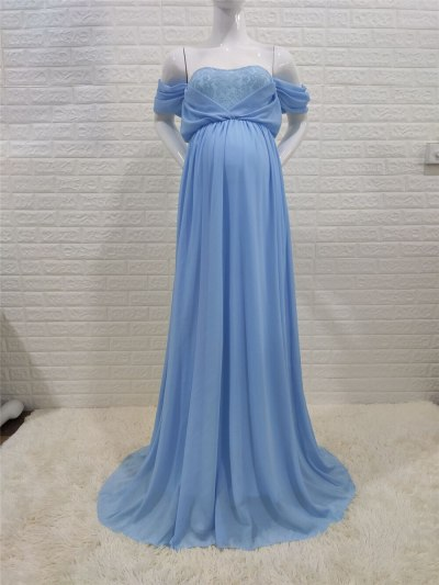 Shoulderless Sexy Maternity Dress Photo Shoot Long Pregnancy Dresses Photography Props Lace Chiffon Maxi Gown For Pregnant Women
