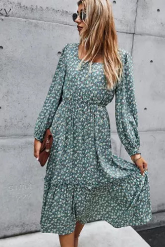 Long Dress Autumn Spring Clothes Elegant Ladies Print Long Sleeve Ruched Black Dresses