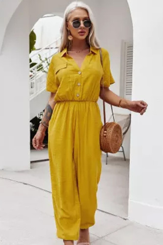 Women's V Neck High Waist Straight Elegant Office Lady Overalls  Jumpsuits