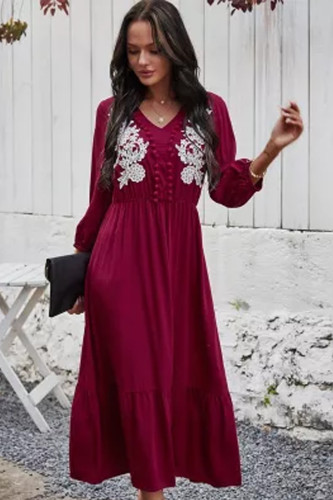 Embroidery Maxi Dresses for Women 2021 Spring Summer Dress V-Neck Long Sleeve Casual Beach Dress