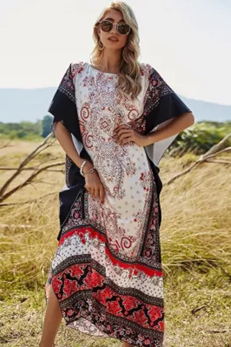 2021 Spring Summer Paisley Print Long Tunic Tops Beach  Bohemian Chiffon Dress