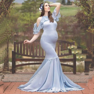 Maternity Photography Props Maternity Dresses Off-the-Shoulder for Photo Shoots