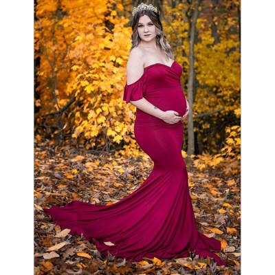 Ruffled Sleeve Pregnancy Dress Photography Props Maternity Maxi Gown Dresses