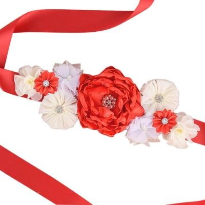 New Red Flower Maternity sash Pregnancy belly belt Baby Shower party Photo Prop Embarazada Accessorios Wedding Fancy Waistband