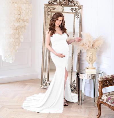 2021 Shoulderless Maternity Dress For Photo Shoot Pregnant Women Sexy Ruffles Clothes Pregnancy Dress Women Photography Prop