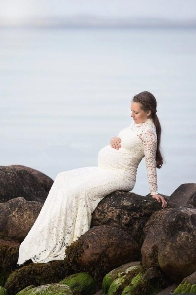 Baby Shower Lace Maternity Dresses For Photo Shoot Long Fancy Pregnancy Dress Elegence Pregnant Women Maxi Gown Photography Prop