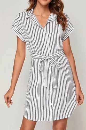 Women Sexy Stripe Mini Shirt Dress Long Sleeve Loose Top Shirt Dress Summer Dress