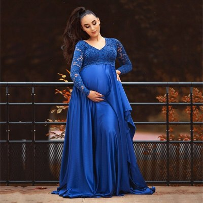 2021 Silk Maternity Photography Long Dresses Baby Shower Party Dress  Long Train Lace Pregnant Woman Dress For Photo Shoot