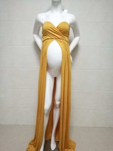 Maternity Photography Props Chiffon Dresses With Long Tail Stretchy Pregnant Woman Dress For Photo Shoot