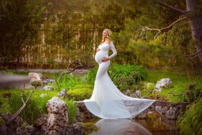 New Maternity Photography  Dress Pregnant Woman Lace Tulle Dresses For Photo Shoot  Baby Shower Dress