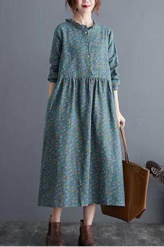 Linen Casual Long Dress New Autumn Vintage Floral Print Stand Collar Ladies Elegant A-line Dresses