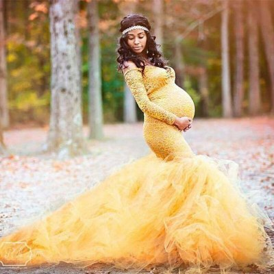 New Long Sleeve Maternity Gown Lace Maxi Dress Pregnant Women Photography Pregnancy Dress Maternity Dresses for Photo Shoot Prop