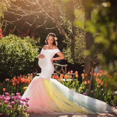Lace Maternity Photography Props Dresses Rainbow Mesh Pregnancy Dress Long Pregnant Women Maxi Maternity Gown For Photo Shoots