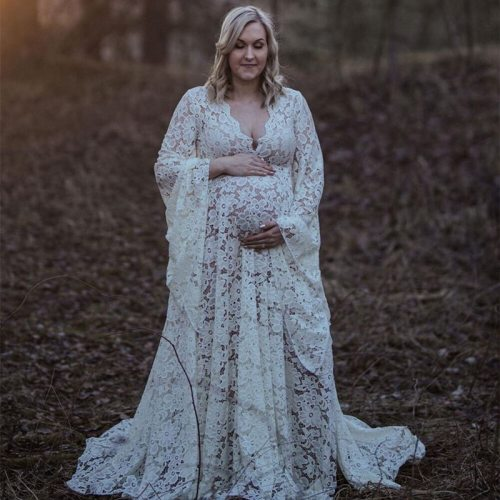 2021 Boho Maternity Dress For Photo Shoot Outfit Pregnant Woman Pregnancy Lace Robe Grossesse Shooting Photo