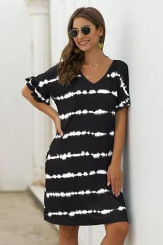 Summer Loose Above Knee, Mini Short V-neck Striped Streetwear Natural Regular