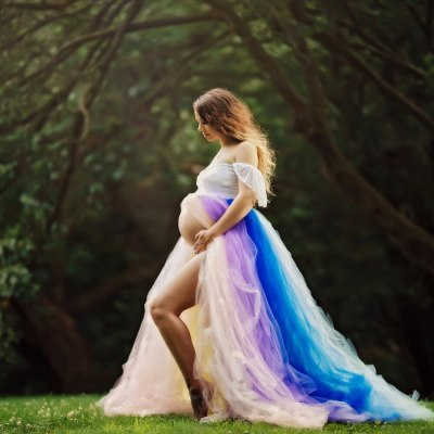 Sexy Maternity Dresses For Photo Shoot Maxi Gown Lace Mesh Pregnancy Dress Elegence Long Pregnant Women Photography Prop Clothes