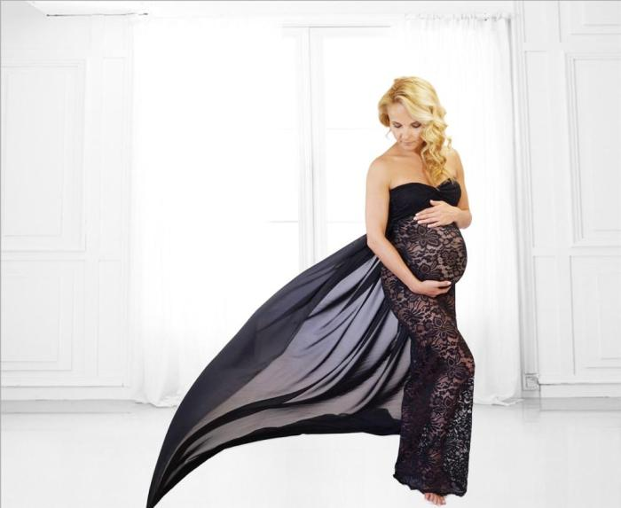 Maternity Dress Photo Shoot Maternity Photography Props off-the-shoulder Pregnancy Dresses lace Women Clothing
