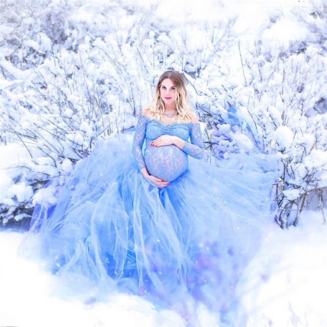 Sexy Lace Maternity Photography Props Long Dress Baby Shower Fancy Pregnancy Dress Photo Shoot For Pregnant Women Mesh Maxi Gown