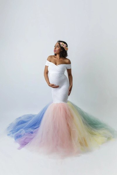 Lace Maternity Photography Props Dresses Rainbow Mesh Pregnancy Maxi Maternity Gown