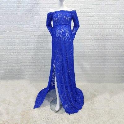 Stretchy Lace Maternity Dresses For Photo Shoot Long Sleeve Slash Neck Pregnancy Photography Long Dress Sides Slit