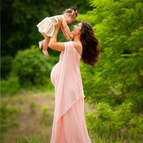 Sexy Maternity Shoot Dresses Split Front Long Pregnancy Photography Dress Lace Chiffon Pregnant Women Maxi Gown For Photo Props