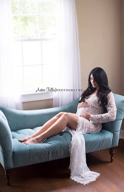 Women White Skirt Maternity Photography Props Lace Gown Pregnancy Clothes Maternity Dresses For pregnant Photo Shoot Clothing