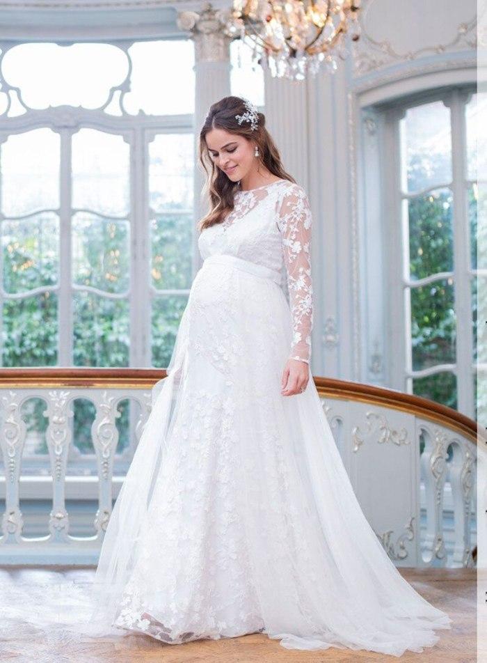Lace Maternity Dresses for Photo Shoot Tulle Pregnancy Mesh Perspective White Dress Studio Photo Studio Props