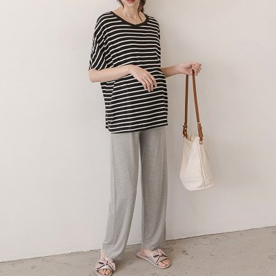 Emotion Moms Women Maternity Trousers High Waisted Pregnant Modal Pants Loose Straight Cut Soft Maternity Capris Wear