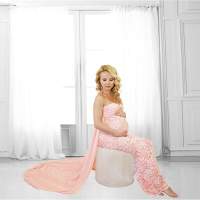 Pregnancy Dresses Maternity Photography Props Clothes For Pregnant Women Shoulderless Tailed Maternity Dresses For Photo Shoot