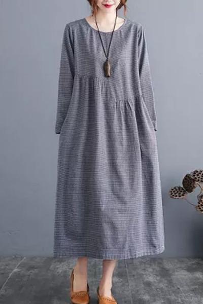 Women Autumn Cotton  New Arts Style Vintage Plaid O-neck Loose Ladies Casual A-line Dresses