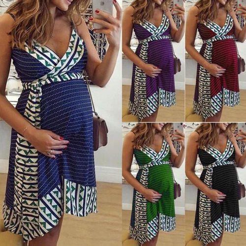 2021 Maternity Nursing Stripe Breastfeeding Summer Backless  pregnancy dress