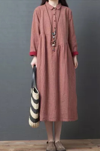 Women Autumn Casual Long Dresses New  Arts Style Vintage Striped Loose A-line Dress