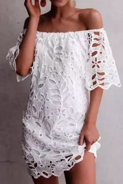 Women Off Shoulder Short Sleeve Party White Sundress Sexy Boat Neck Hollow Out Maternity Dress
