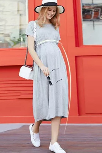 Women's Maternity Dress Pregnant  Short-sleeved Dress Plus Size Women's Loose Maternity Dress