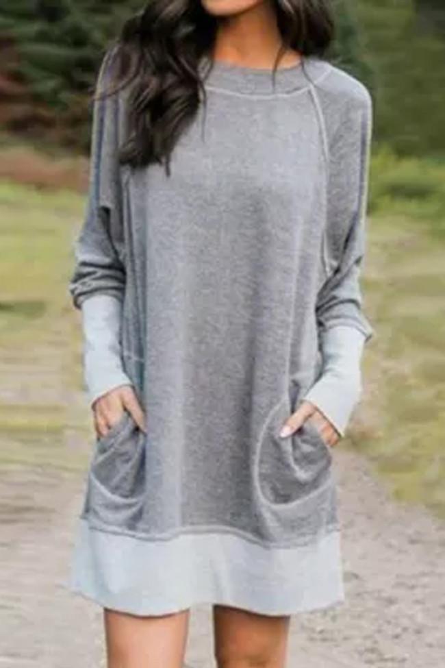 Autumn Winter Dress Women O Neck Long Sleeve Patchwork Loose Sweatshirt Mini Dresses