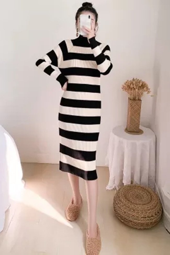 Woman Dresses Fall Winter Clothing Style Knitting Long Sleeve Striped Clothes