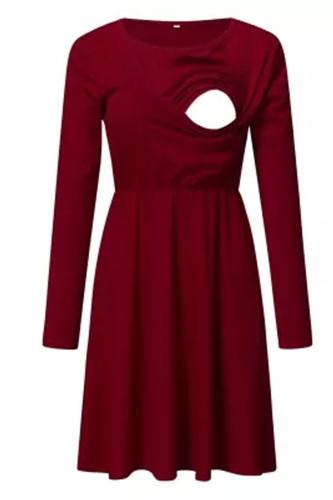 Women Pregnant  Autumn Dress Long Sleeve Solid Nursing Sleepwear Dress For Breastfeeding