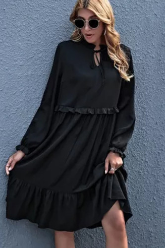 2021 New Spring Lantern Sleeve V Neck Lace Up Ladies Casual Elegant Vintage Pullover Midi Dresses