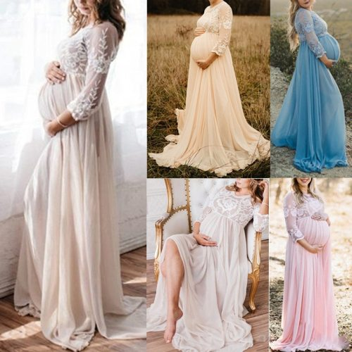 Lace Maternity Dresses for Photo Shoot Sexy Gown Pregnancy Clothes Baby Showers Party Sexy Pregnant Woman Maxi Gown Dresses