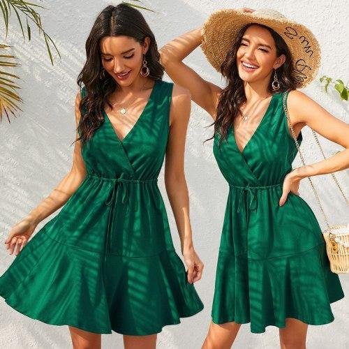 2021 Women Slim Dress Summer Fashion Elegant Deep V-neck Spaghetti Straps Mini Dress