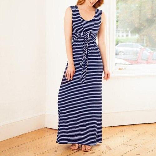 Women Summer Breastfeeding Long Dress Fashion Round Neck Striped Breastfeeding Dresses