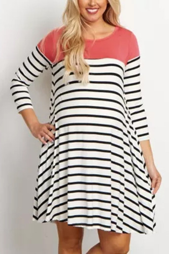 Dresses Maternity Sleeve Striped Print Breastfeeding dress
