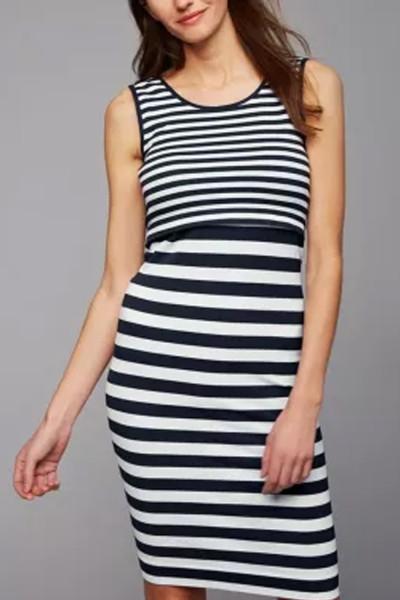 2021 New Summer   breastfeeding striped dress Maternity Vest Striped Sleeveless Dress