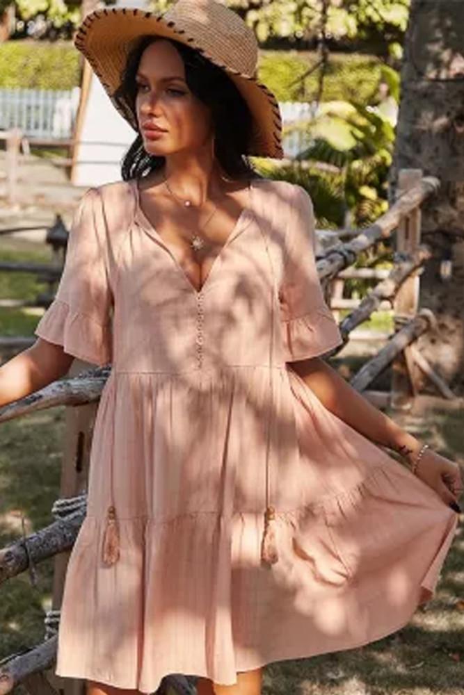 Women Casual High Waist Button Decoration Spring Summer Dress