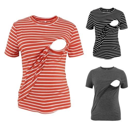 New Summer Striped Maternity Dress Cotton Round Neck Short Sleeve T-Shirt Fashion Layered Comfortable Breastfeeding Top