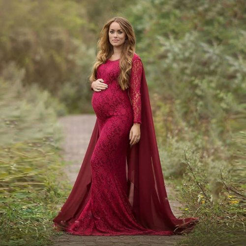 Chiffon Shawl Maternity Dresses For Photo Shoot Lace Fancy Pregnancy Dresses Elegence Pregnant Women Maxi Gown Photography Props