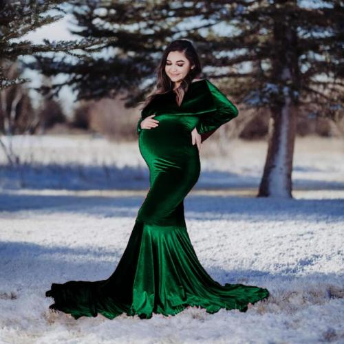 Maternity Shoulderless Mermaid Dress Gold Velvet Fancy Pregnancy Photography Photo Shoot Pregnant Women Winter Maxi Gown Clothes