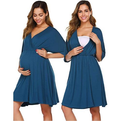 Women's New V-neck Maternity Dress Commuter Sexy Three-Quarter Sleeve High Waist Stitching Midi-Skirt